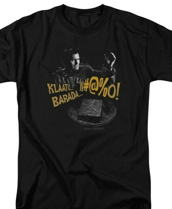 Army Of Darkness Klaatu Barada Nikto Retro 80s Horror Graphic T-shirt MGM198