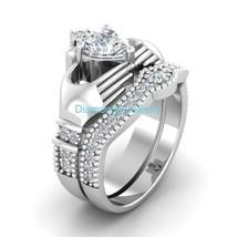 Certified 2.40Ct Heart Cut 14K White Gold Engagement Wedding Claddagh Ri... - $268.98