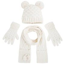 Mayoral Little Girls 3-Piece Basketweave Knit Hat Glove Scarf Accessory Set