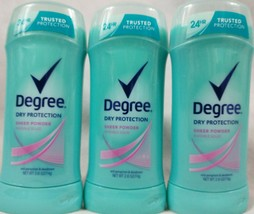 3 Pack Degree Dry Protection Sheer Powder Antiperspirant Deodorant 2.6 o... - $19.75