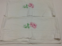Vintage Pair of Pillowcases Embroidered pink floral roses flowers hand s... - $9.47