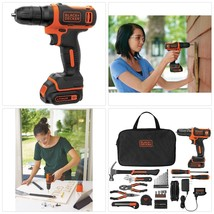 BLACK DECKER Cordless Drill with 64 Piece Project Kit 12 Volt MAX Lithiu... - $55.97
