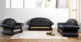 VIG Divani Casa Cleopatra Black Genuine Leather Sofa Set 3Ps Classic Tra... - €2.690,97 EUR