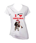 I Love Christmas With My Basset Hound Santa - WHITE COTTON LADY TSHIRT - $19.53