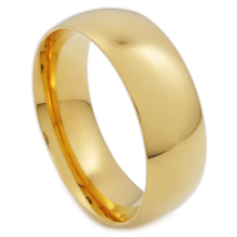 Stainless Steel Polish Gold Color Comfort Fit Round Face Band Ring 7mm US Size 8 - $8.99