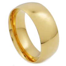 Stainless Steel Polish Gold Color Comfort Fit Round Face Band Ring 8mm US Size 7 - $9.49