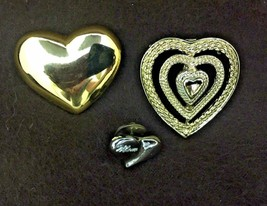 Vintage Costume Jewelry, set of 3 Heart Brooches, Pins, one signed Gerry... - $9.75