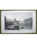 GERMANY Saxony Werra River at Munden - 1820s Copper Engraving Cpt BATTY - $7.65