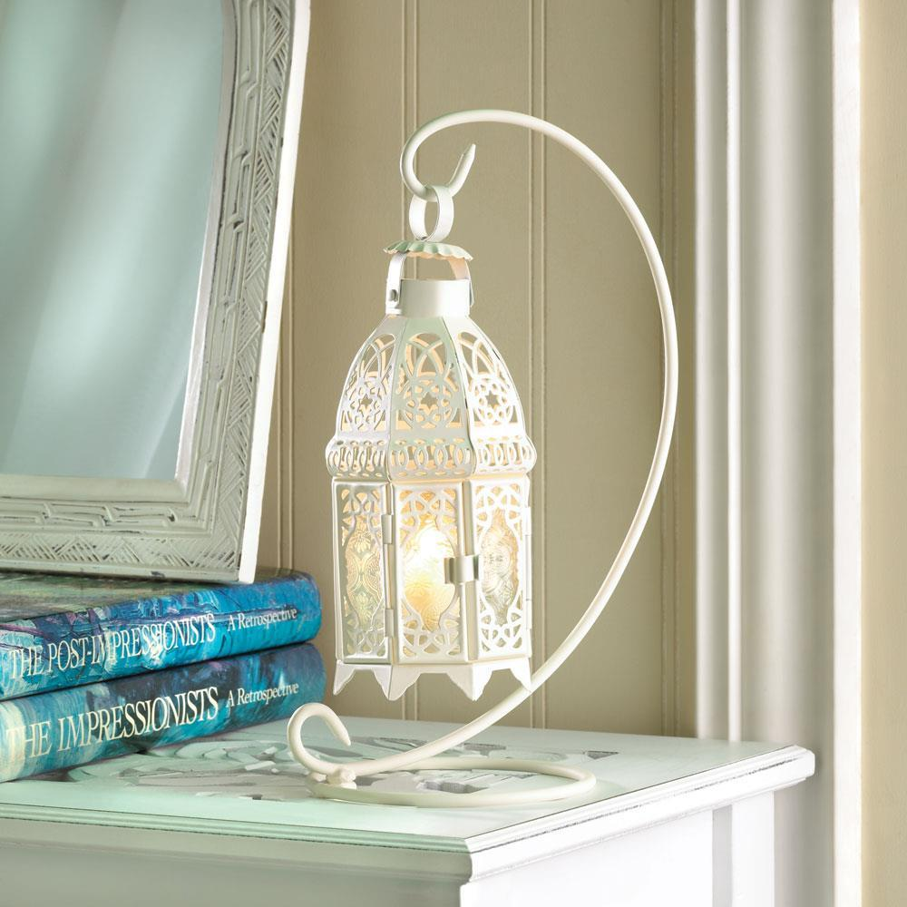 Hanging white metal green glass patio deck table candle holder lantern & stand