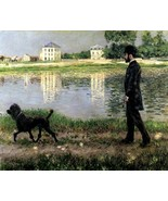 RICHARD GALLO AND HIS DOG DICK MAN WALKING DOG RIVER BANK BY CAILLEBOTTE REPRO - £7.92 GBP - £45.48 GBP