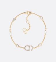 Auth NEW Christian Dior CLAIR D LUNE GOLD Crystal Pearl BRACELET