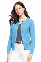 Lands End Women's Supima Crew Cotton Cardigan Sweater Blue Quartz New - $34.99
