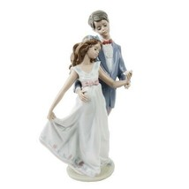 "Lladro #7642 ""Now and Forever"" Young Man & Woman Dancing with Flower Retired - $222.26"