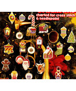 CROSS STITCH & NEEDLEPOINT CHRISTMAS ORNAMENTS LEISURE ARTS 180 NOS - $4.50