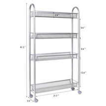 Homfa 051421 Kitchen Slide Out Storage Tower 4-Tier Gap Rack With Wheels... - $32.71