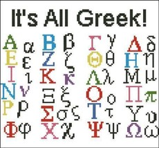 It's All Greek alphabet cross stitch chart Pinoy Stitch - $5.40