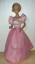 Vintage Barbie Twist N' Turn Bendable Knee Doll Taiwan in pink long gown  - $18.81