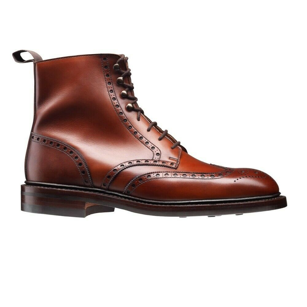 Maroon Red Color Full Brogue Toe Wing Tip Vintage Leather Lace Up Ankle Boots image 2