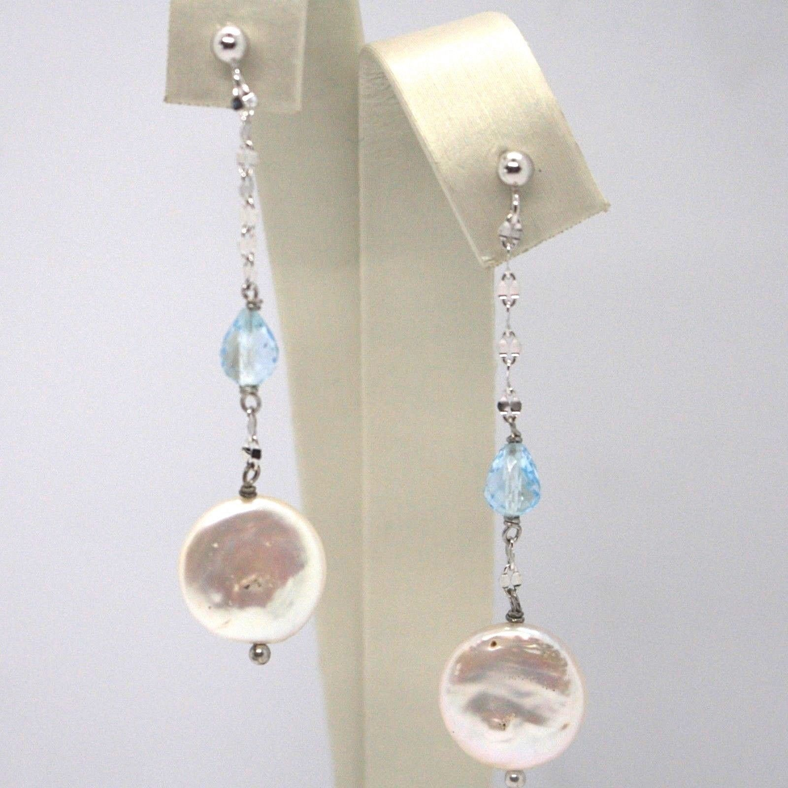 Drop earrings 18k White Gold, Topaz Blue Drop, madrepela disk