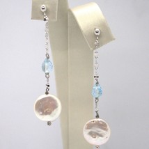 Drop earrings 18k White Gold, Topaz Blue Drop, madrepela disk image 1