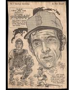 Bob Monty Montgomery Red Sox Sports Cartoon Newspaper Clip Baseball Sketch - $14.99
