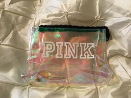 Victoria's Secret Pink Clear Zippered Makeup Cosmetic Bag Iridescent NEW - $8.59