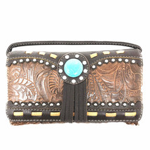 Texas West Rhinestone Concho Floral Embroidery Fringe Womens Wallets - $16.99
