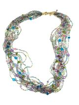 "JOAN RIVERS Blue Green Pink Multi Strand Torsade 40"" Beaded Necklace EUC image 9"