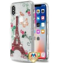 For APPLE iPhone XS/X Paris Monarch Diamante Full Glitter TUFF Hybrid Ca... - $12.23