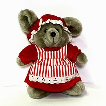 Vintage Dakin Christmas Ms. Santa Mouse Stuffed Animal Plush 86' Red White Apron - $19.95