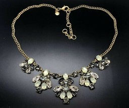 J.Crew Yellow Goldtone Multicolored Crystal Cluster Chain Statement Neck... - $34.29