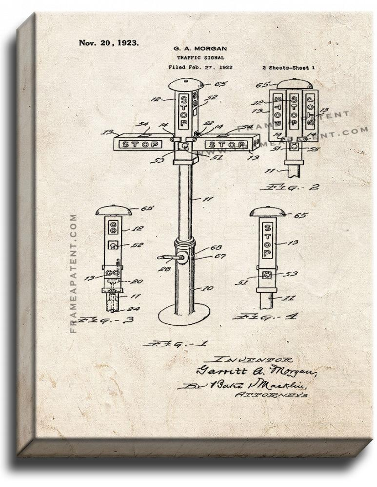 Primary image for Traffic Signal Patent Print Old Look on Canvas