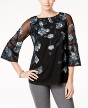 Charter Club Womens Mesh Top 3/4 Sleeves Embroidered Floral Shirt, Medium ($89) - $42.56