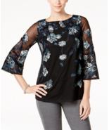 Charter Club Womens Mesh Top 3/4 Sleeves Embroidered Floral Shirt, Mediu... - $42.56