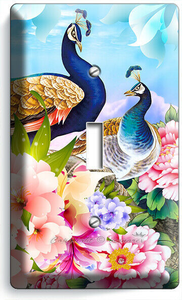 FLORAL PEACOCK BIRDS COLORFUL FEATHERS LIGHT SWITCH OUTLET WALL PLATE ROOM DECOR