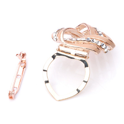Diamond Simulants White Twist Triangle scarves buckle Brooch