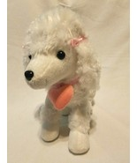Hobby Lobby White Poodle Puppy Dog Plush Stuffed Animal Pink Heart Bows - $26.61