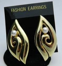 White Faux Pearl Abstract Gold Tone Fashion Post Earrings Vintage - $13.86