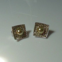 Vintage Signed Blair Delmonico Faux Pearl & Rhinestone Clip-on Earrings  - $19.79