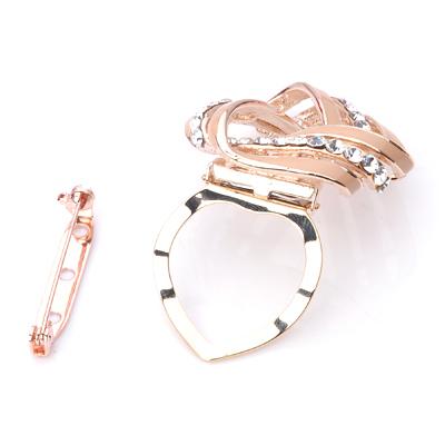 Diamond Simulants Red Twist Triangle scarves buckle Brooch