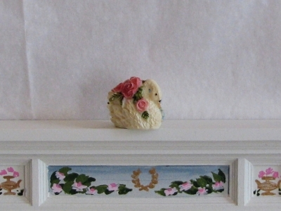 Dollhouse Miniature Swan Vase w Pink Roses 1:12 Bonnie Franklin