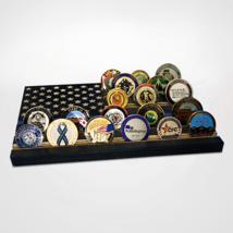 POLICE BLUE LINE USA FLAG CHALLENGE COIN WOOD  DISPLAY STAND RACK - $94.99