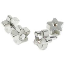 Pair Stainless Steel Cubic Zirconia Star Barbell Screw Stud Earrings - $8.60
