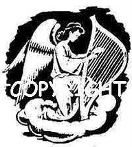 ANGEL PLAYING HARP new mounted rubber stamp - $5.50