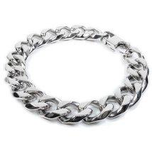 "Stainless Steel Faceted Curb Chain Mens Bracelet 12mm 8.5"" - $14.99"