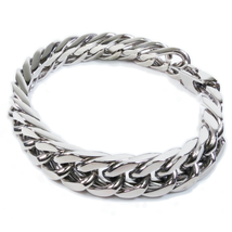 "Stainless Steel Polish Double Curb Chain Mens Bracelet 12mm 8.5"" - $14.99"