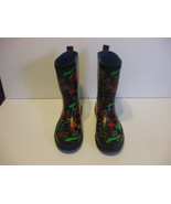 Kids Multi Color Rubber Boots Size 3    9 Inches From Heel To Toe - $15.82
