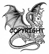 FLARED WING DRAGON NEW mounted rubber stamp - $8.00