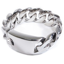 "Stainless Steel Polished Heavy Wide Men Bracelet 25mm 8.2"" - $54.00"