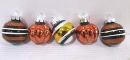 Halloween Thanksgiving MINI (5) Glass Pumpkin Ball Ornaments Decor Decor... - $9.99